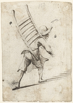 Bebaarde man met een rek over zijn schouder, naar rechts, van achteren