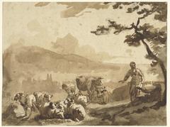 Berglandschap met herders bij hun kudde schapen en koeien