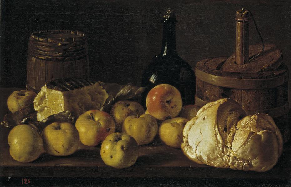 Bodegón con manzanas pan queso y recipientes