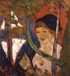 Breton Girl with a Red Umbrella