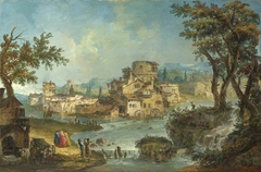 Buildings and Figures near a River with Rapids