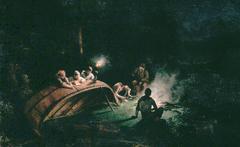 Canoe Party around Campfire