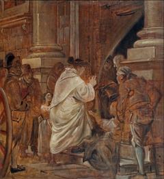 Cardinal blessing beggars at the church doors