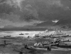 Coast with Boats on the Beach, a Storm Brewing. Dalmatia
