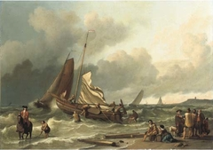 Coastal view with sailing vessels in the surf and figures on the beach