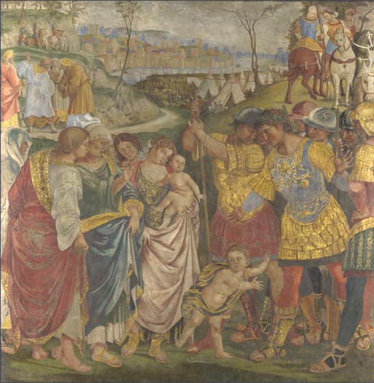 Coriolanus persuaded by his Family to spare Rome