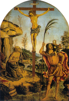 Crucifixion between Sts. Jerome and Christopher