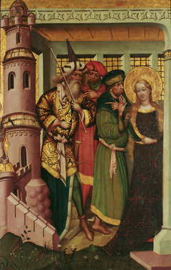 Die hl. Barbara wird in den Turm geführt