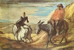 Don Quichotte et Sancho Panca dans les montagnes