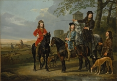 """Equestrian Portrait of Cornelis (1639–1680) and Michiel Pompe van Meerdervoort (1638–1653) with Their Tutor and Coachman (""""Starting for the Hunt"""")"""