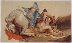 Étude de cheval et de cavalier tombé, d'après Le Brun