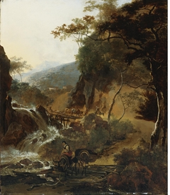 Figures and Cattle crossing a Bridge