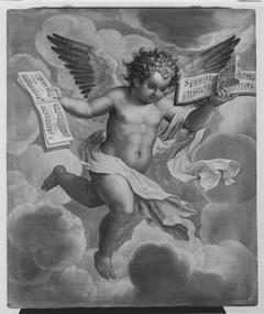 Fliegender Engel mit Musikalien