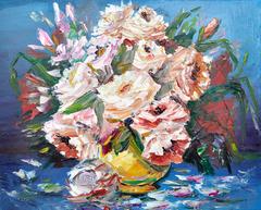Flowers in golden vase