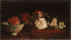 Flowers on a Japanese Tray on a Mahogany Table