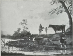 Four Cows by a River with Herdsmen and a Horseman