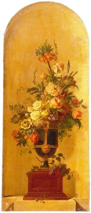 Geschilderd behangsel met voorstelling van bloemen in een vaas