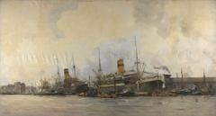 Gezicht op de Panamakade naar het westen, met schepen van de Hollandsche Lloyd