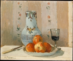 'Ghâtaignier' Apples and Glazed Earthenware on a Table