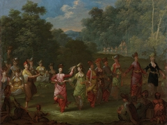 Greek Men and Women Dancing the Khorra