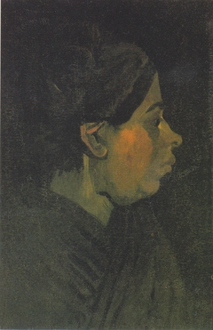 Head of a Brabantian peasant woman with dark hood