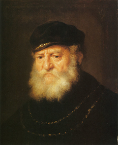 Head of an old man with a beard and a cap