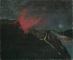 Heidelberg by Night with Fireworks