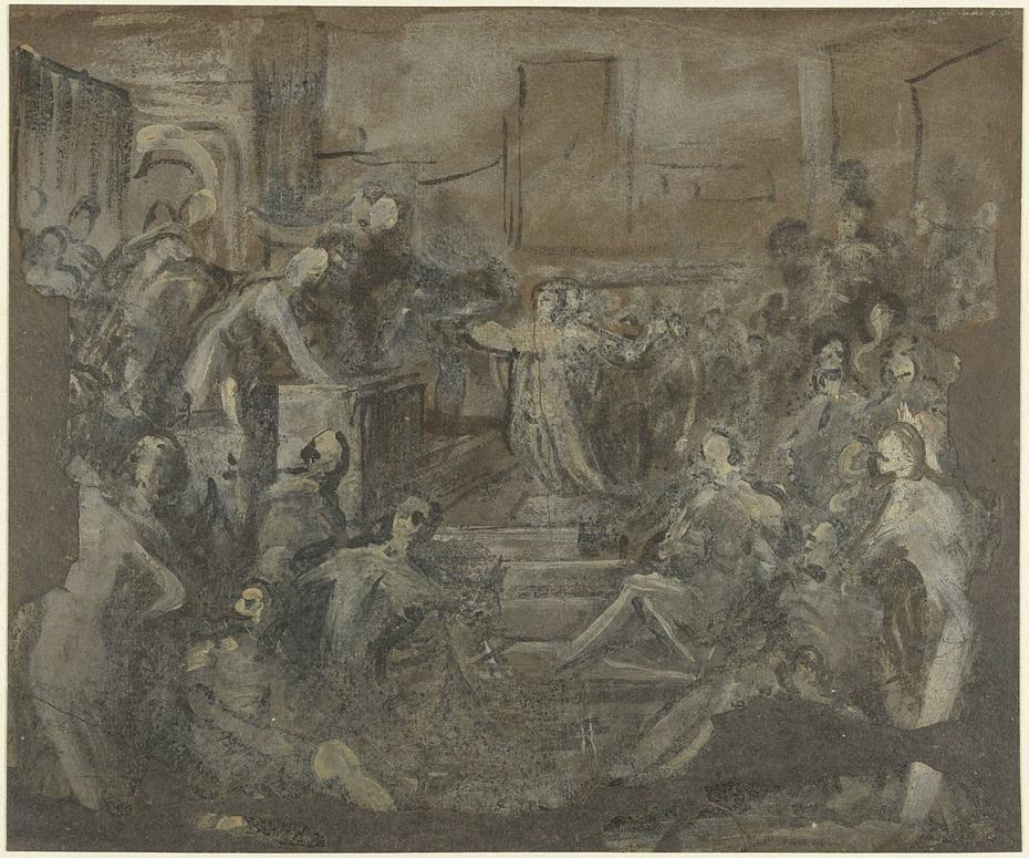 Heilige Catharina in discussie met de schriftgeleerden