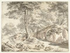 Herder met schapen bij een ruïne tussen bomen