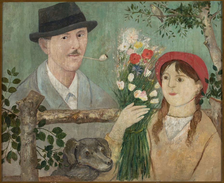Idyll beside a fence (Self-portrait, girl with flowers and dog)