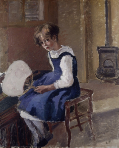 Jeanne Pissarro Called Minette Holding a Fan