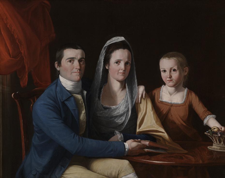 Jonathan Trumbull, Jr. (1740-1809) with Mrs. Trumbull (Eunice Backus) (1749-1826) and Faith Trumbull(1769-1846)