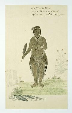 Khoivrouw met haar zakdoek, de staart van een jakhals