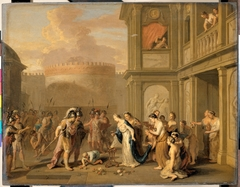 Koningin Kleophis biedt Alexander de Grote wijn aan na de verovering van Magazae