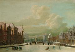 Korte Spaarne in Haarlem in winter