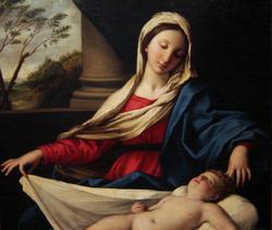 La Virgen, quien adora al Niño dormido
