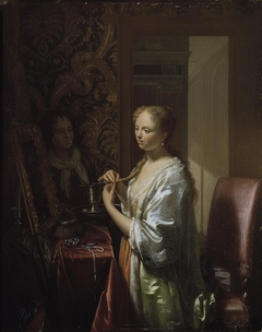 Lady attending to her toilet