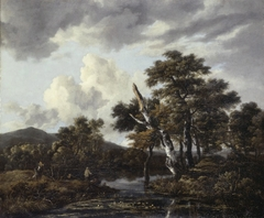 Landscape with birches and a stream