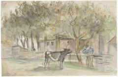 Landschap met een koe en een boer