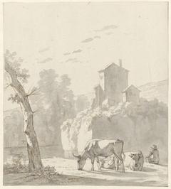 Landschap met herder, twee koeien en schapen