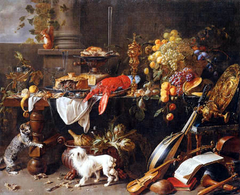Large Still-life with Dog and Cat
