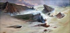 Les rochers à Belle-Île, temps gris