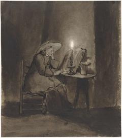 Lezende jongen bij kaarslicht