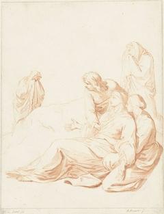 Maria bezwijmt en wordt ondersteund door Johannes de Evangelist en een vrouw