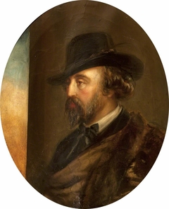 Marmion Edward Ferrers (1813-1884), in three quarters profile to the left, in a hat