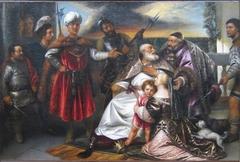 Moïse enfant foulant aux pieds la couronne de Pharaon