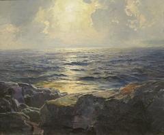 Moonrise (Quarter Moon on Tumbling Seas)