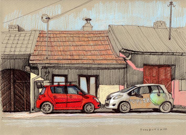 Morning. Red car