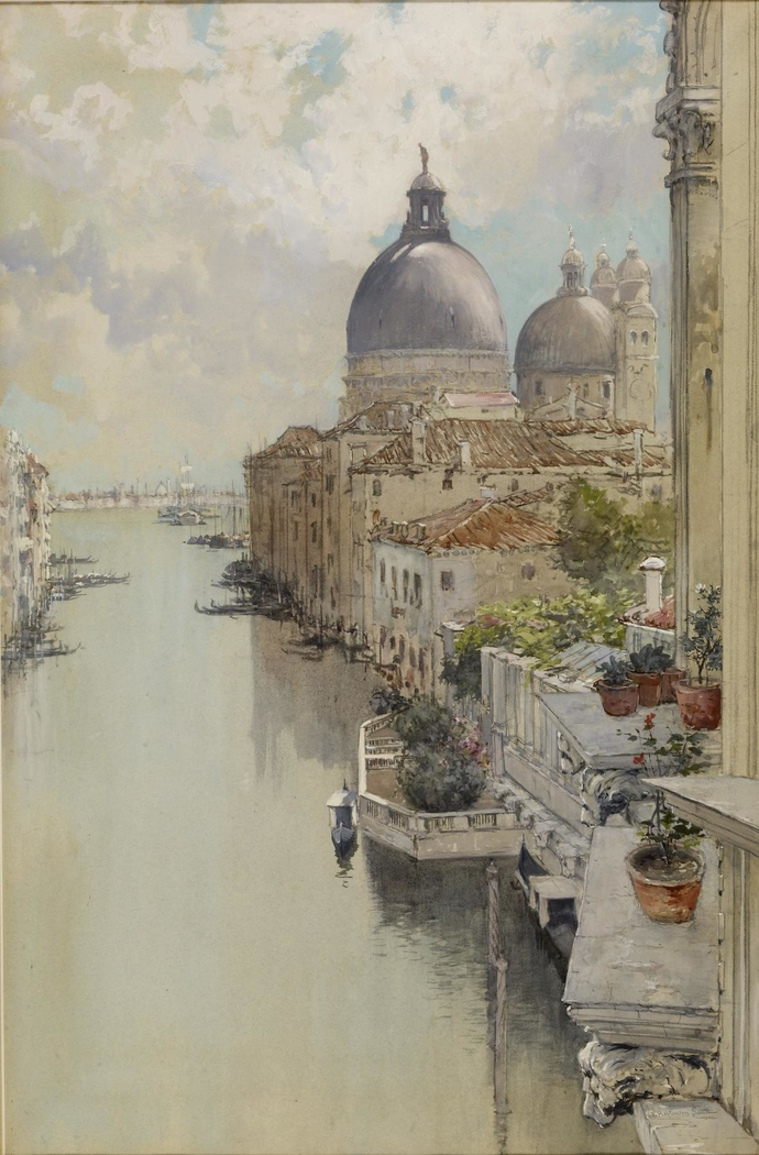 """Over a Balcony,"" View of the Grand Canal, Venice"