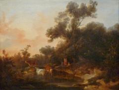 Paysage avec figures et troupeau au soleil couchant